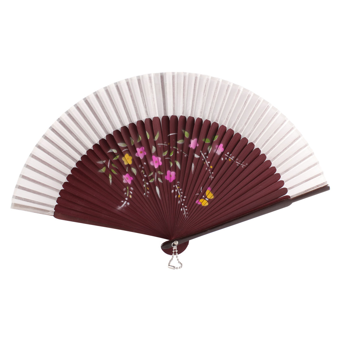 Chinese Style Lady Summer Dancing Party Butterfly Flower Printed Hand Held Fan Gift Decoration White Burgundy