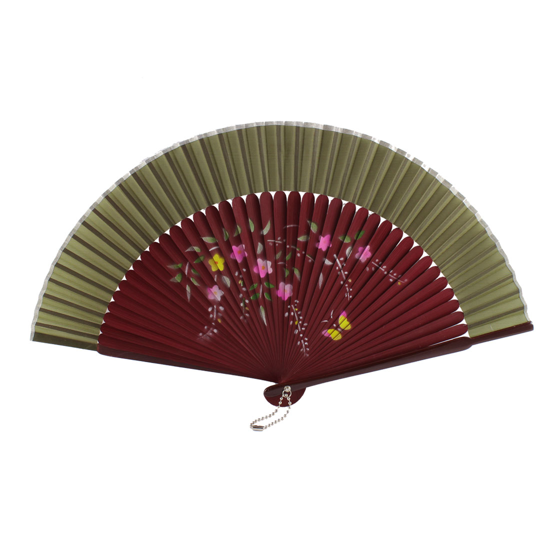 Chinese Style Lady Dancer Summer Party Folding Hand Held Fan Gift Ornament Army Green Burgundy