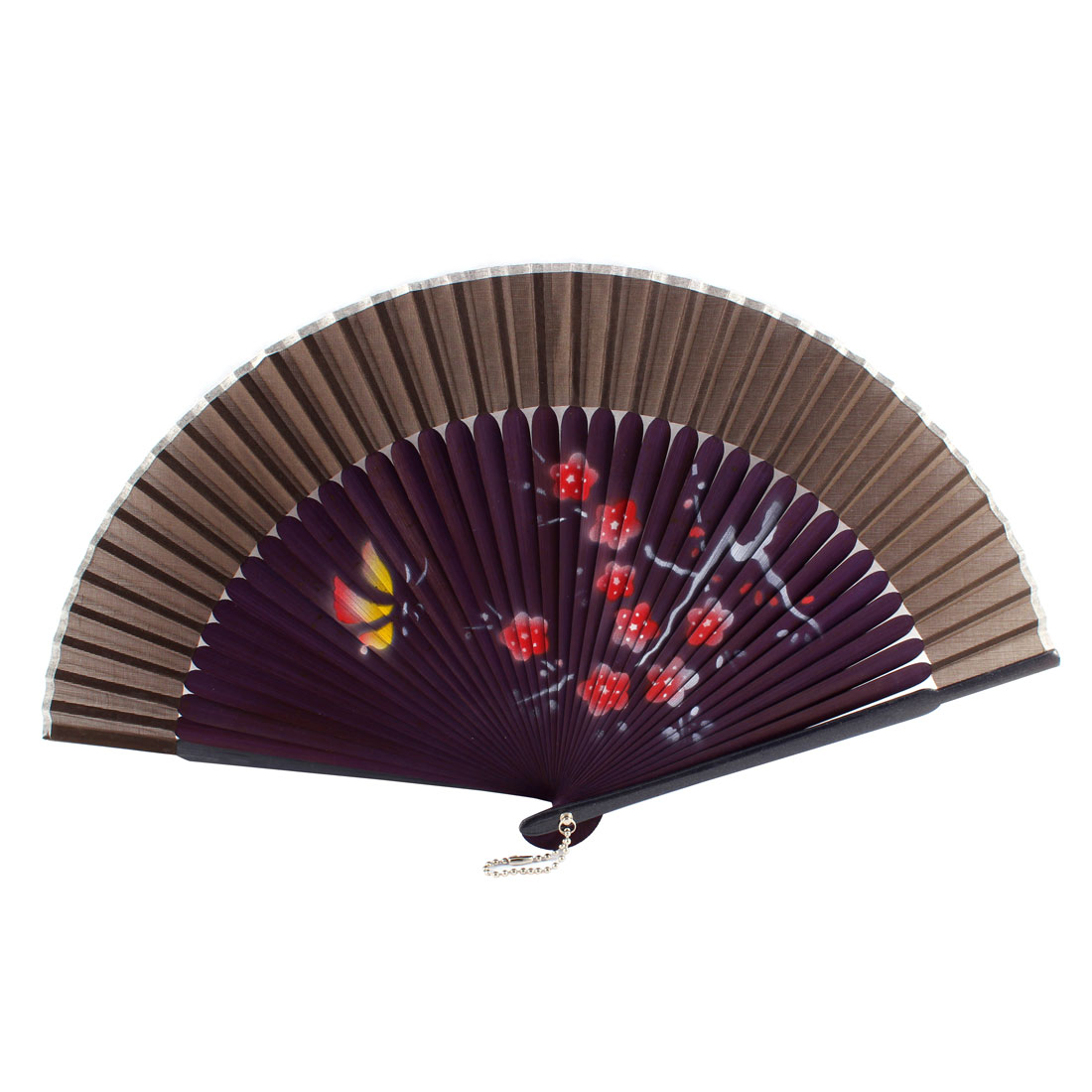 Dancer Summer Wedding Party Plum Blossom Printed Nylon Bamboo Rib Folding Hand Fan Gift Ornament Purple Coffee Color
