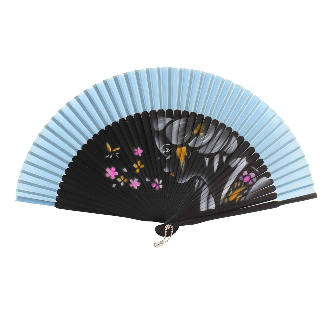 Summer Wedding Dancing Party Girl Flower Pattern Nylon Bamboo Rib Folded Hand Fan Gift Decoration Blue Black