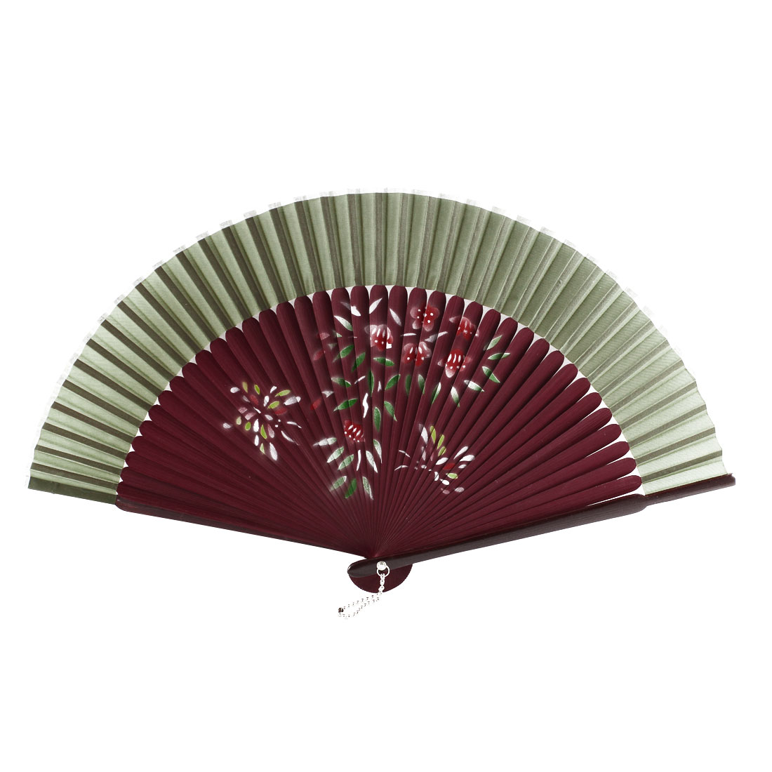 Lady Dancer Wedding Party Flower Printed Nylon Bamboo Frame Folded Hand Held Fan Gift Decoration Army Green Burgundy