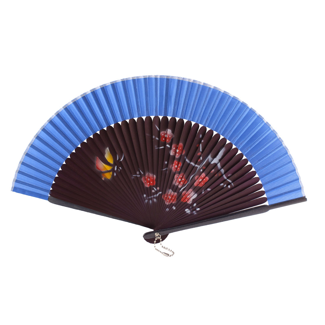Dancer Summer Wedding Party Plum Blossom Printed Nylon Bamboo Rib Folding Hand Fan Gift Ornament Blue Purple