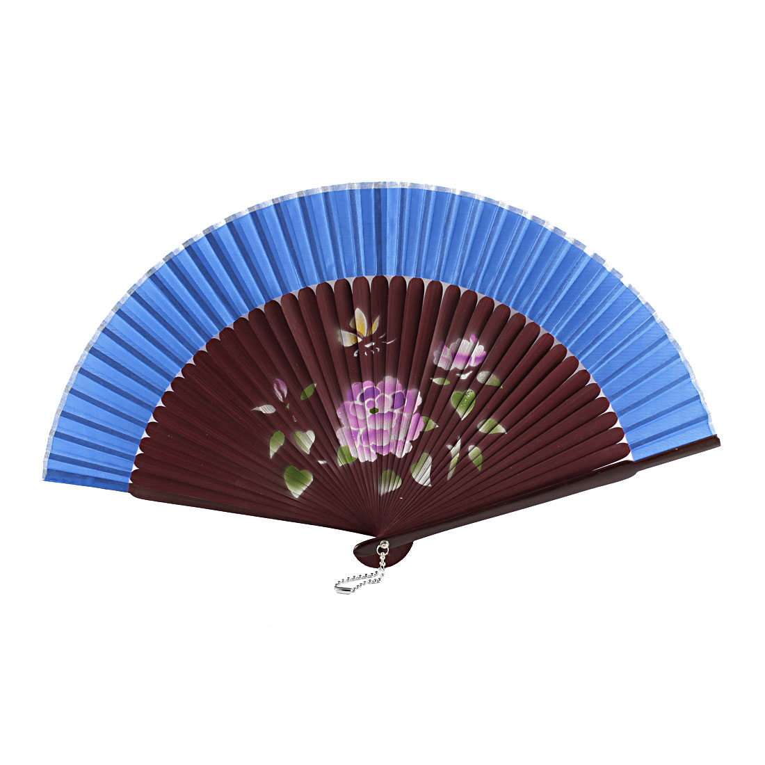 Women Summer Wedding Party Lotus Printed Nylon Bamboo Frame Folding Hand Fan Gift Decoration Burgundy Blue