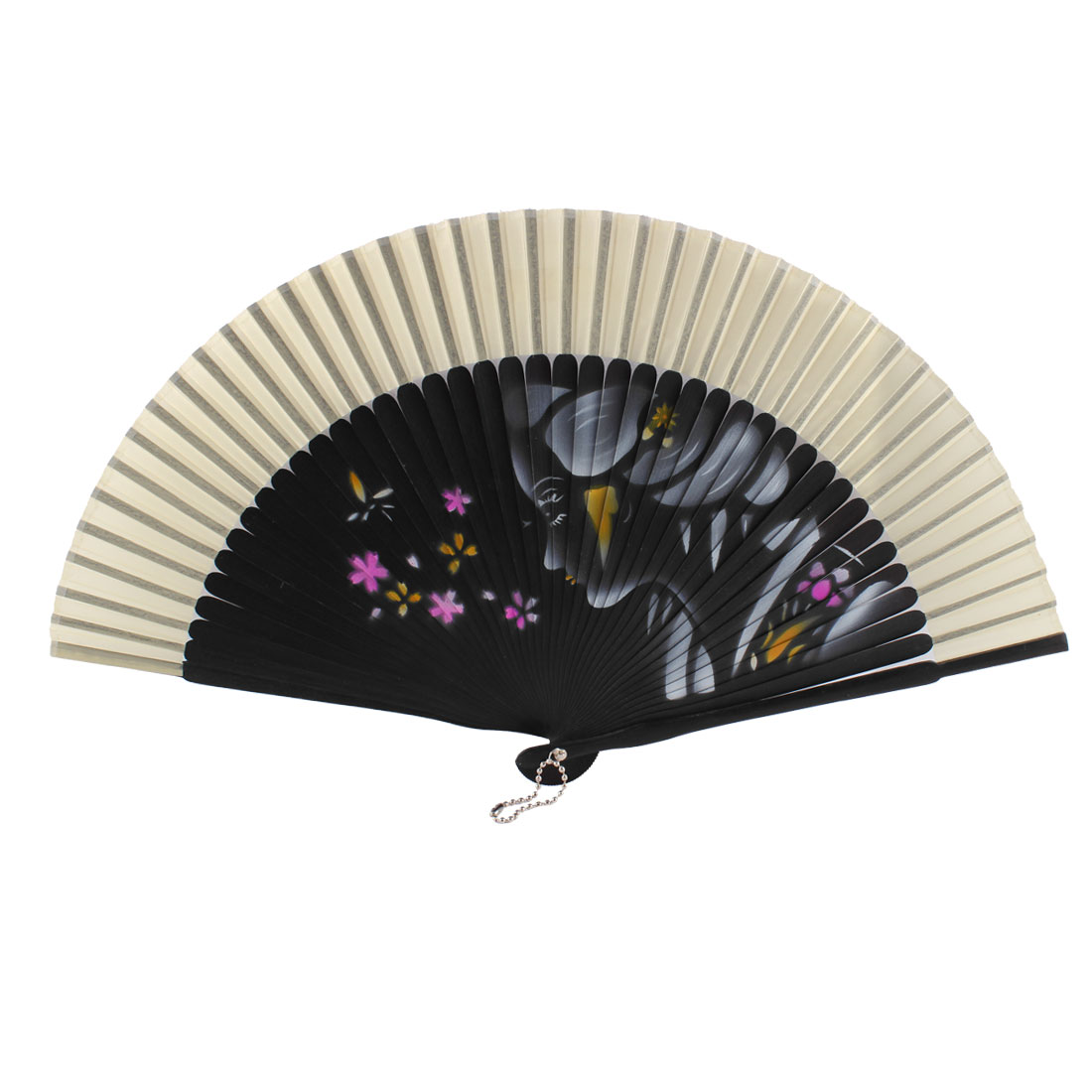 Summer Wedding Dancing Party Girl Flower Pattern Nylon Bamboo Rib Folded Hand Fan Gift Decoration Beige Black