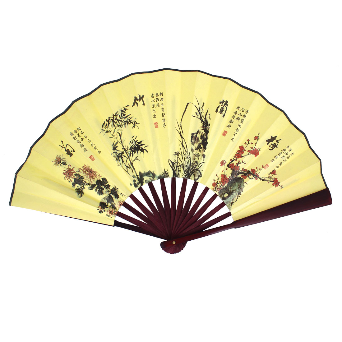 Burgundy Bamboo Frame Flowers Printed Handheld Folding Hand Fan