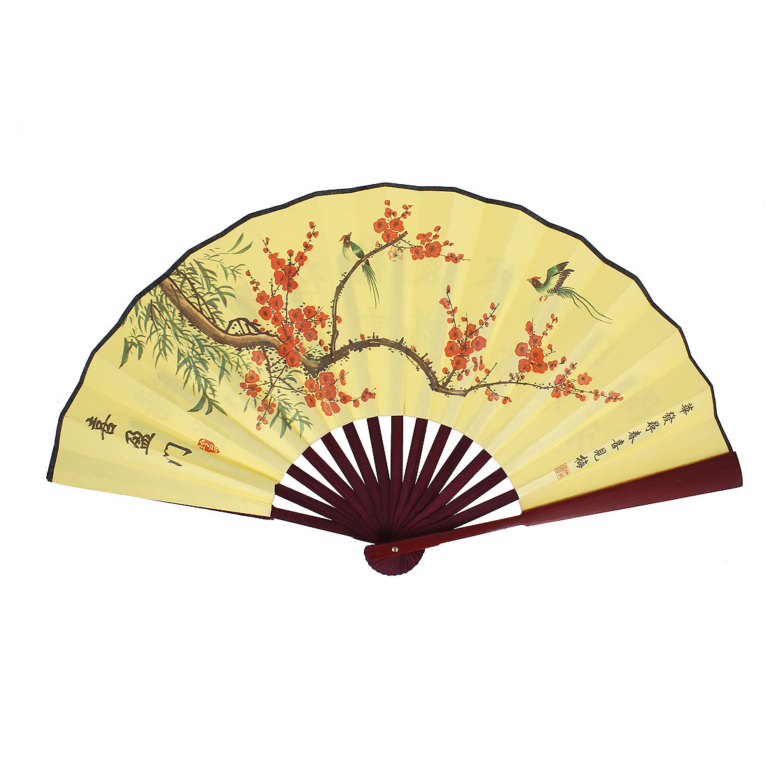 Burgundy Bamboo Frame Wintersweet Printed Collapsible Hand Fan