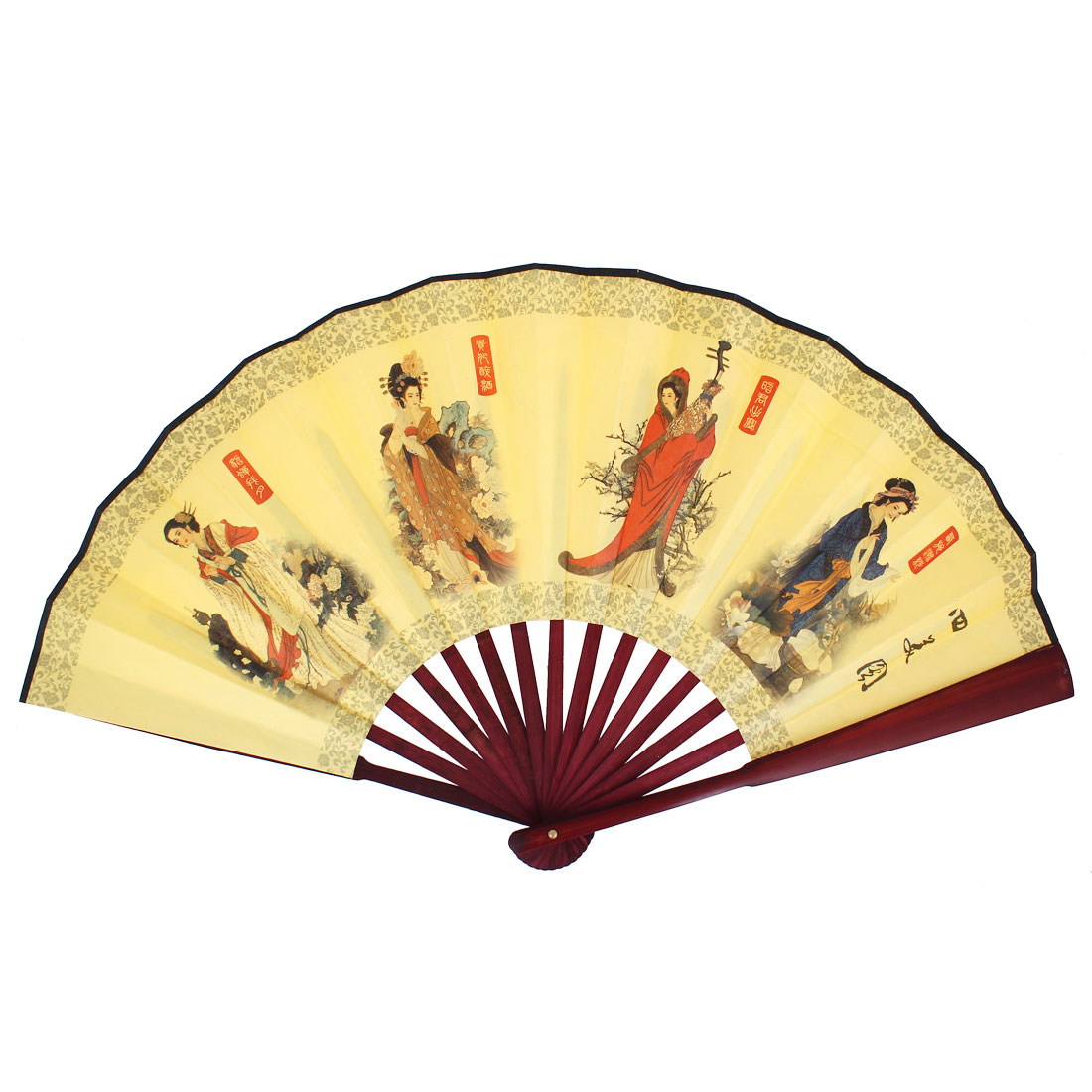 Bamboo Frame The Four Ancient Beauties Printed Folding Hand Fan Yellow