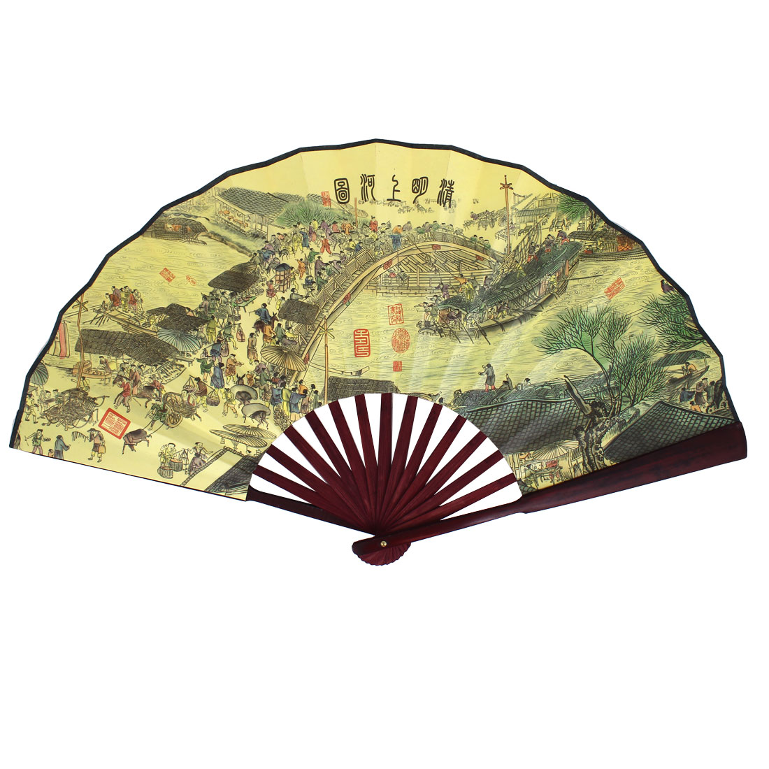 Bamboo Frame Riverside Scene at Qingming Festival Printed Folding Hand Fan Yellow
