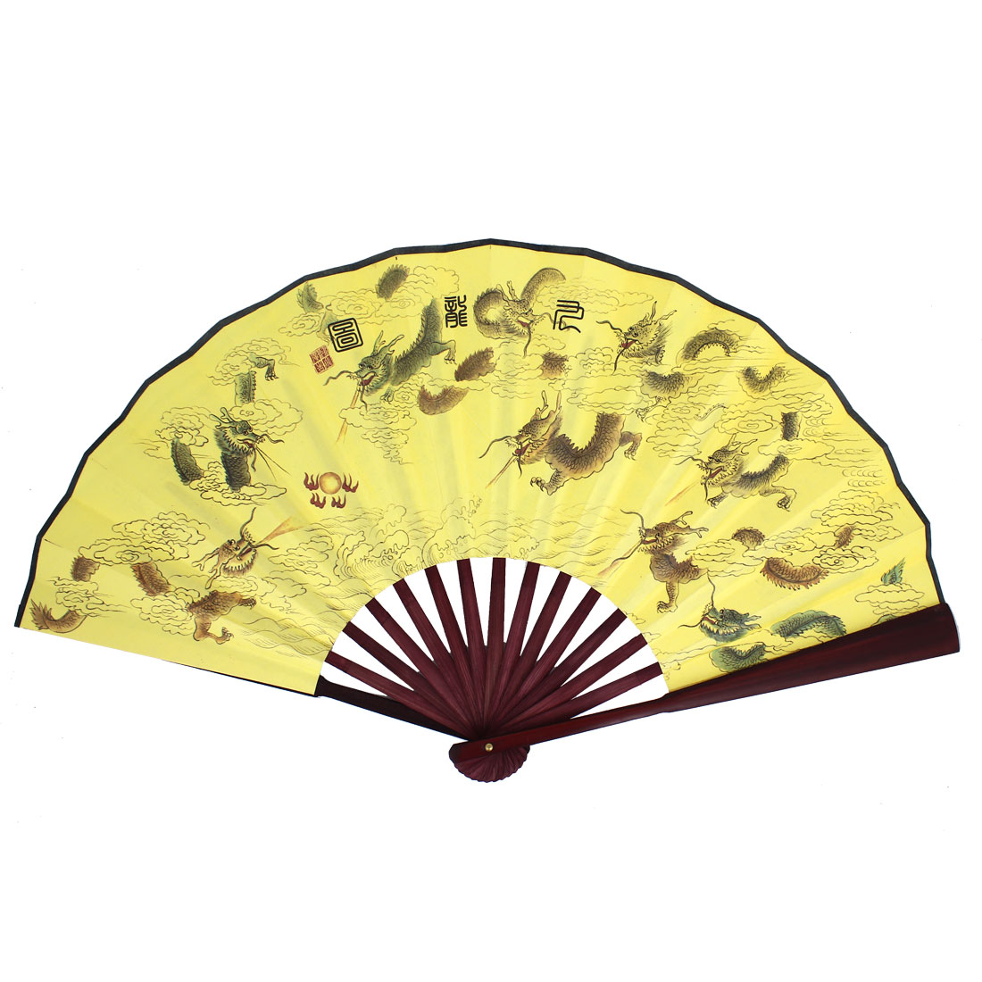 Bamboo Frame Dragon Printed Handheld Collapsible Hand Fan Yellow