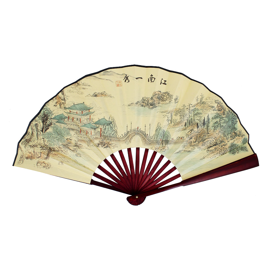 Bamboo Frame Jiangnan Water Figure Printed Folding Hand Fan Yellow