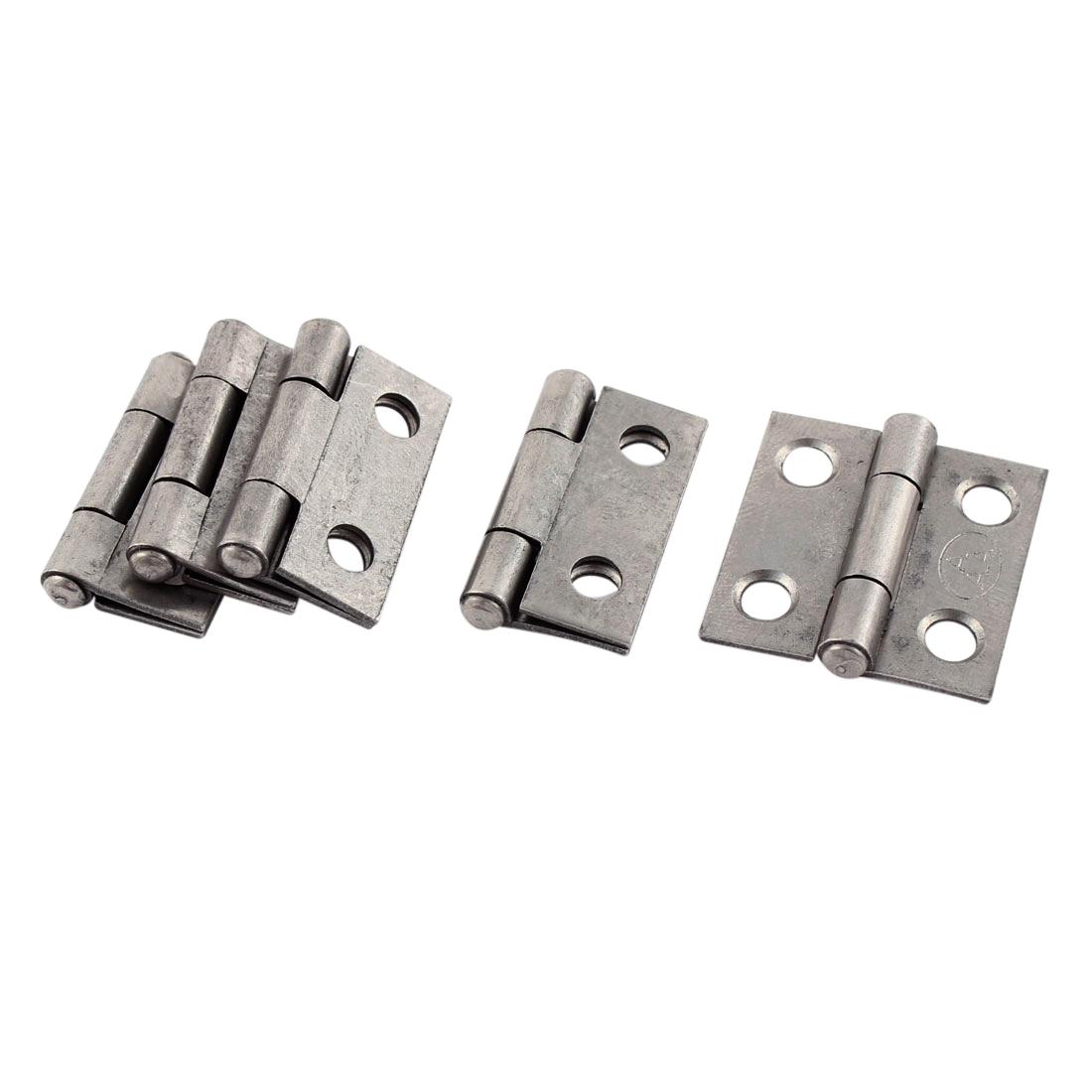 "5 Pcs Iron Cabinet Cupboard Door Gate Hinge Silver Gray 1"" Long"