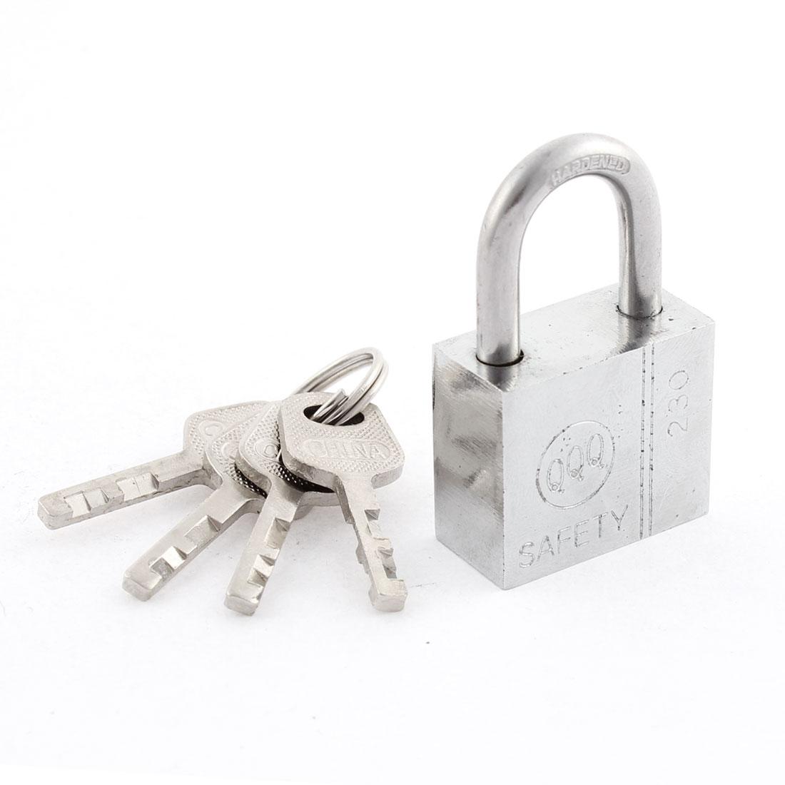 Silver Tone Cabinet Door Drawer Closet Security Locking Padlock w 4 Keys