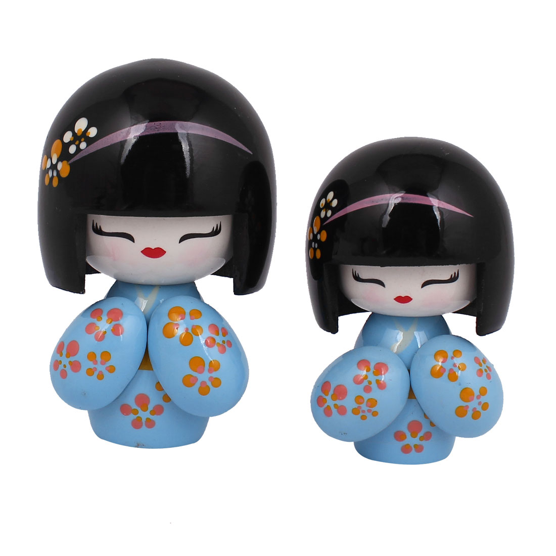 2 in 1 Blue Black Wooden Traditional Japanese Kimono Kokeshi Doll w Carved Floral Decor