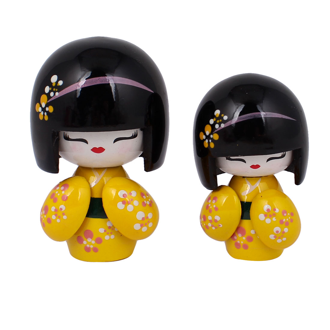 2 in 1 Yellow Black Wooden Traditional Japanese Kimono Kokeshi Girl w Carved Floral Decor