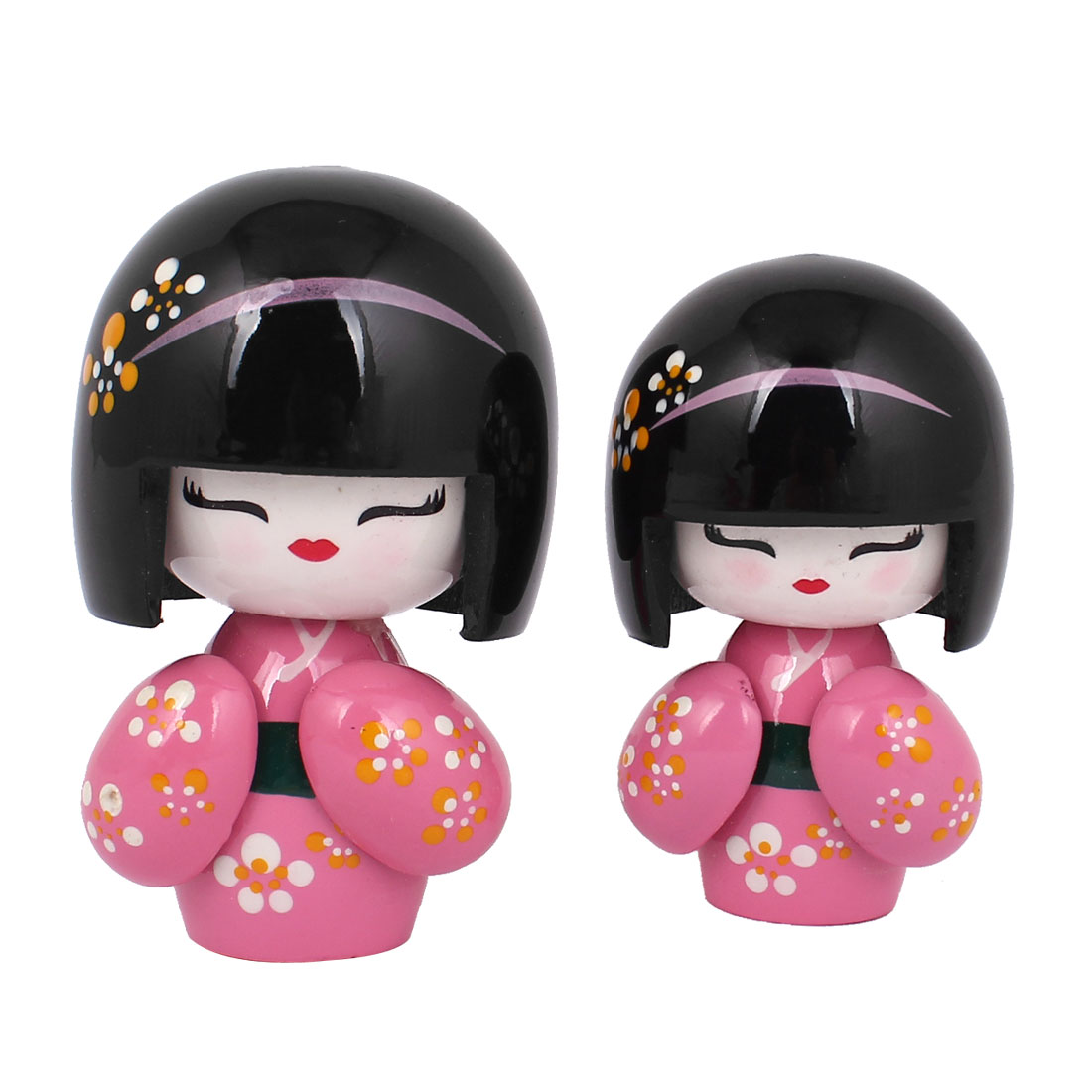 2 in 1 Pink Black Wooden Japanese Kimono Kokeshi Doll w Carved Floral Decor