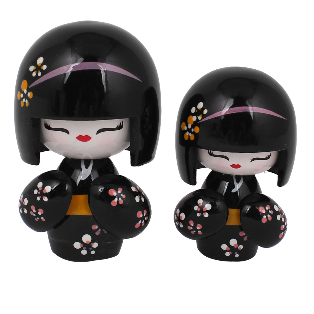 2 in 1 Black Wooden Japanese Kimono Kokeshi Doll Girl w Carved Floral Decor Desk Ornament