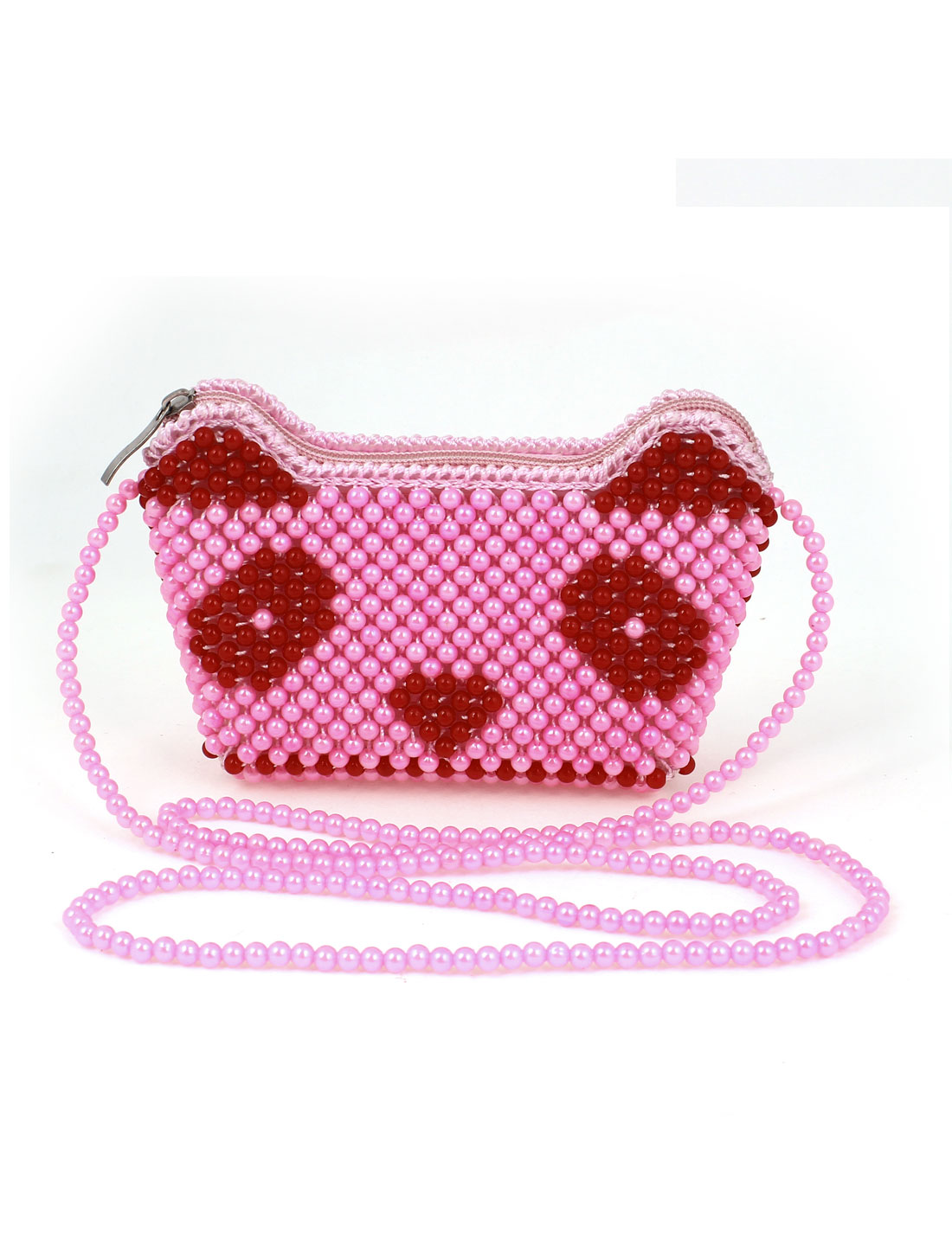 Lady Handmade Bright Pink Beaded Ingot Shaped Zipper Closure Wristlet Purse Handbag for Multi Occasion