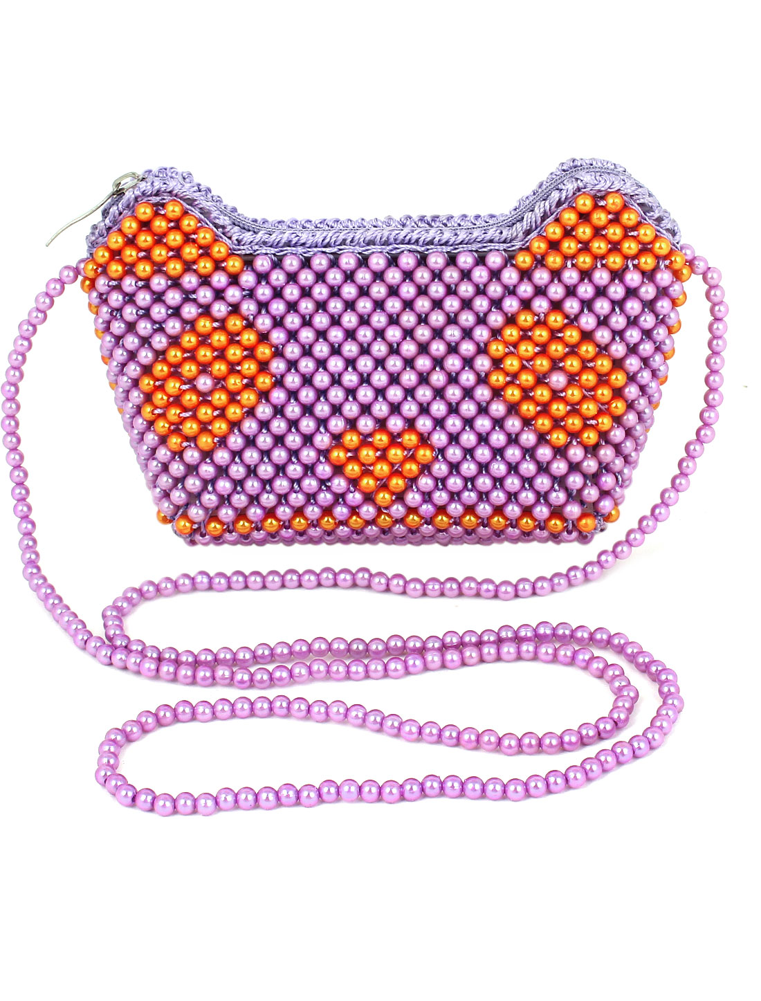 Woman Manual Bright Purple Beaded Ingot Shaped Zipper Closure Wristlet Purse Handbag for Multi Occasion