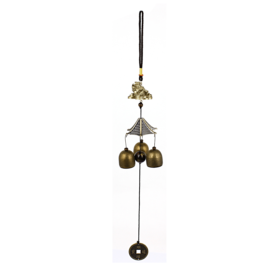Golden Cicada Copper Cash Three Jingle Bells Dangling Detail Ornament Bronze Tone Windbell