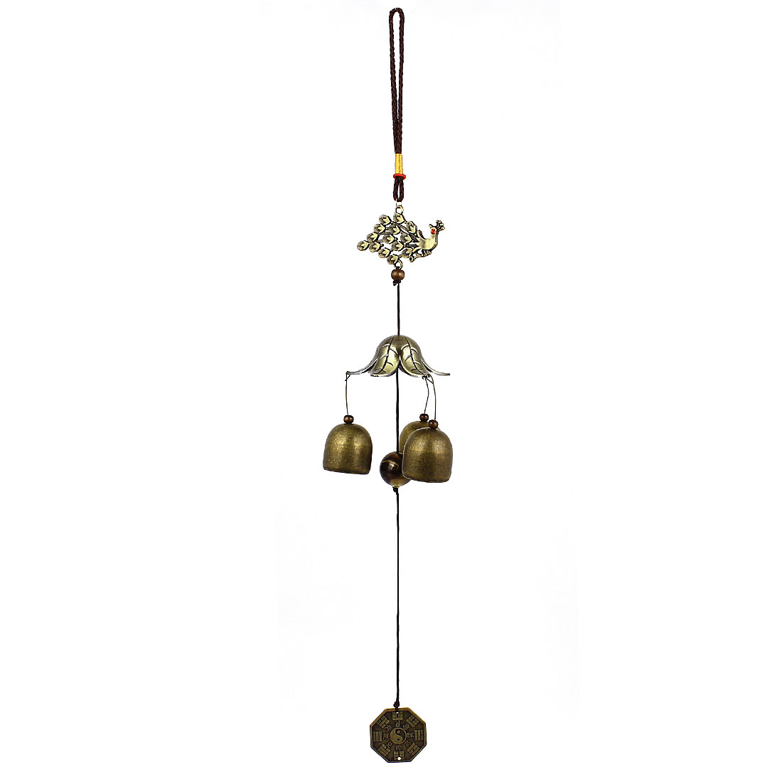 Peafowl Copper Cash Three Jingle Bells Dangling Detail Decor Bronze Tone Windbell