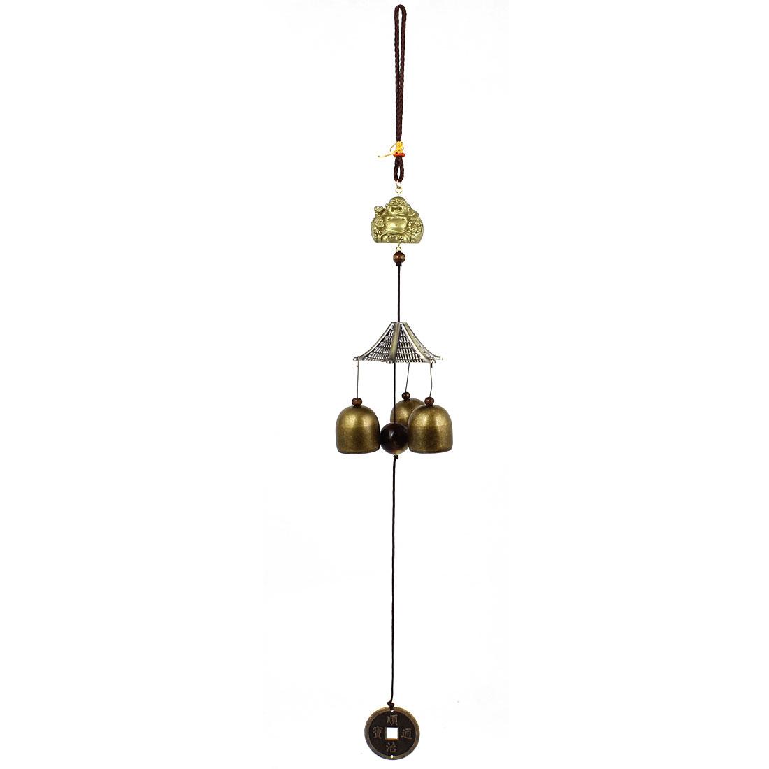 Buddha Copper Cash Three Jingle Bells Dangling Detail Decor Bronze Tone Windbell