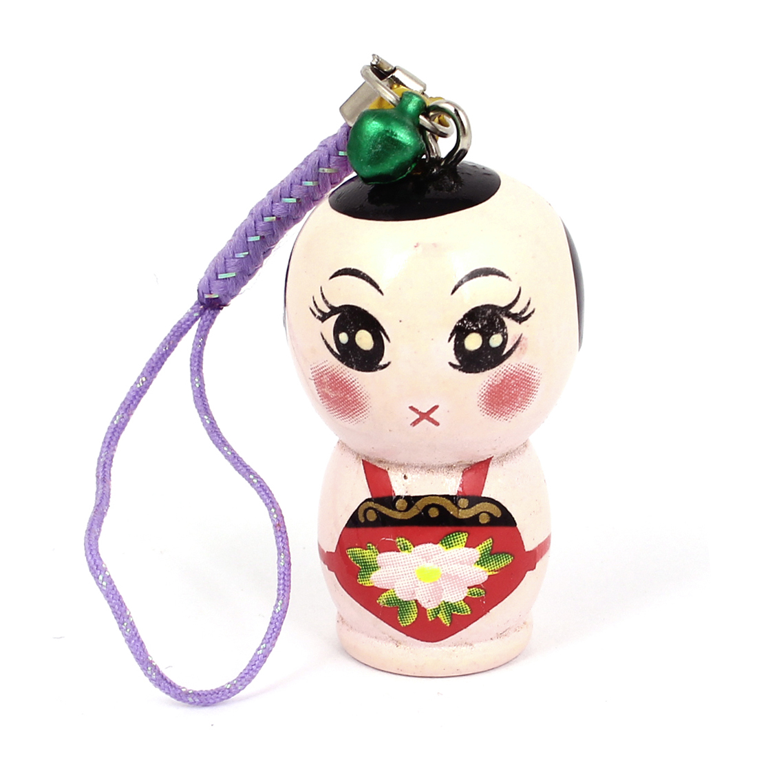 Wood Pale Pink Chinese Traditional Doll Style Decor Pendant Mobile Phone Purple Straps
