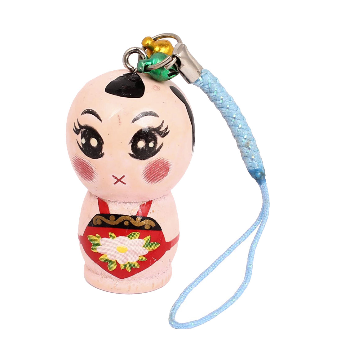 Wood Pale Pink Chinese Traditional Doll Style Ornament Pendant Mobile Phone Blue Straps