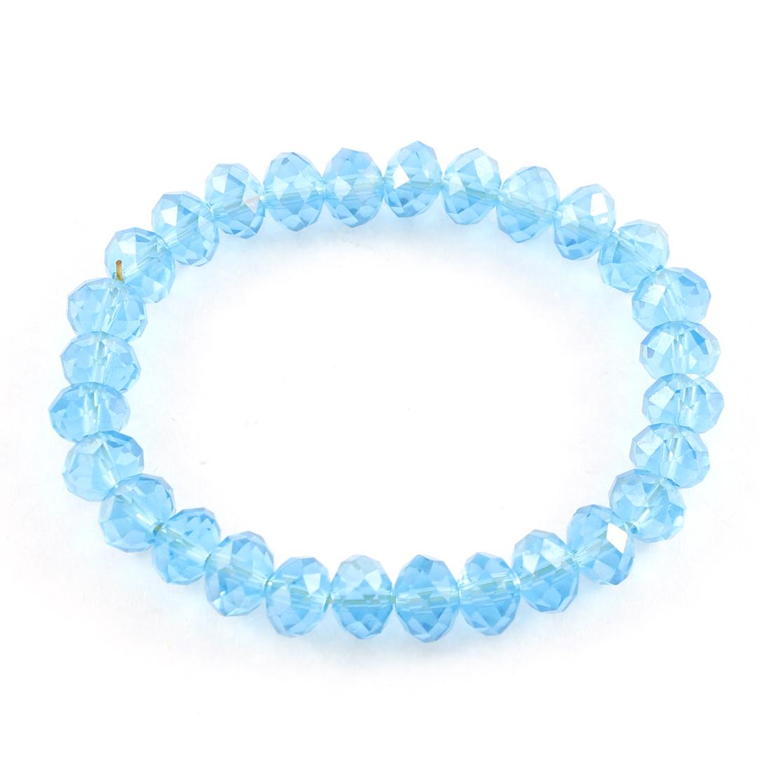 Wedding Party Gift Blue Plastic Crystal Beads Expanding Elastic Wrist Bracelet Bangle