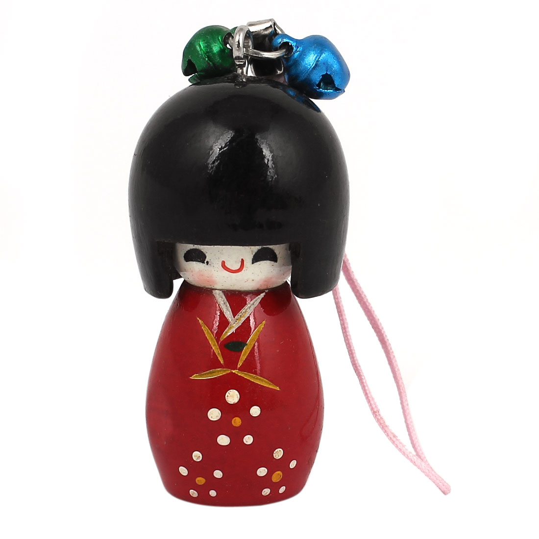 Red Wooden Japanese Kokeshi Doll Bells Hanging Decoration Cell Phone Strap w Pink String