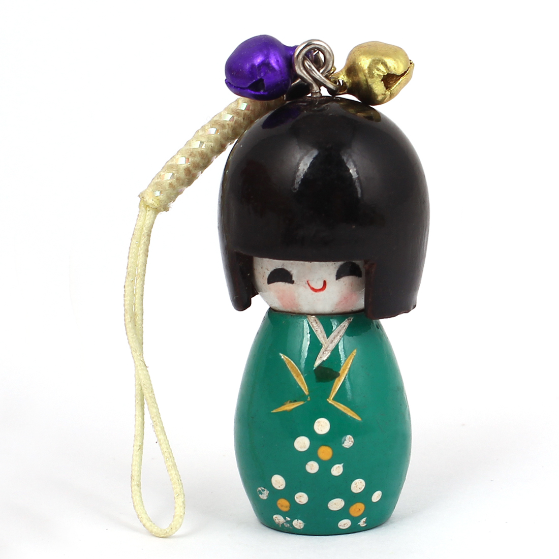 Lawn Green Wooden Japanese Kokeshi Doll Bells Ornament Cell Phone Strap w Yellow String