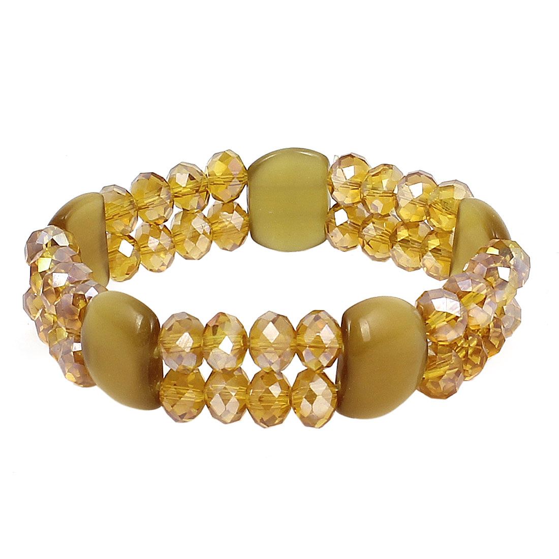 Lady Faux Crystal Ornament Round Square Bead Linked Elastic Wrist Chain Bangle Bracelet Yellow