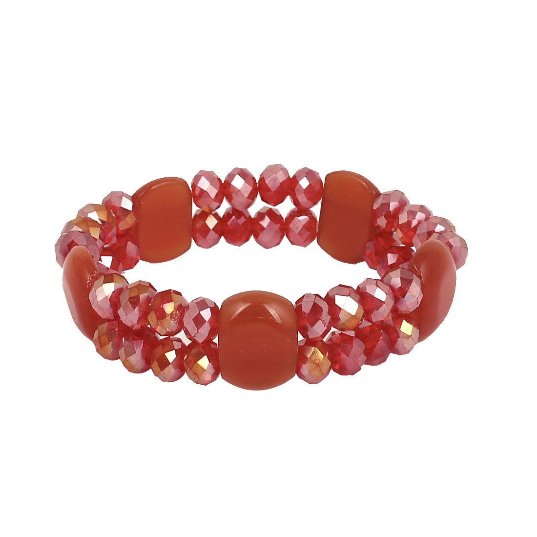 Woman Faux Crystal Decor Round Square Bead Linked Sparkly Elastic Bangle Bracelet Red