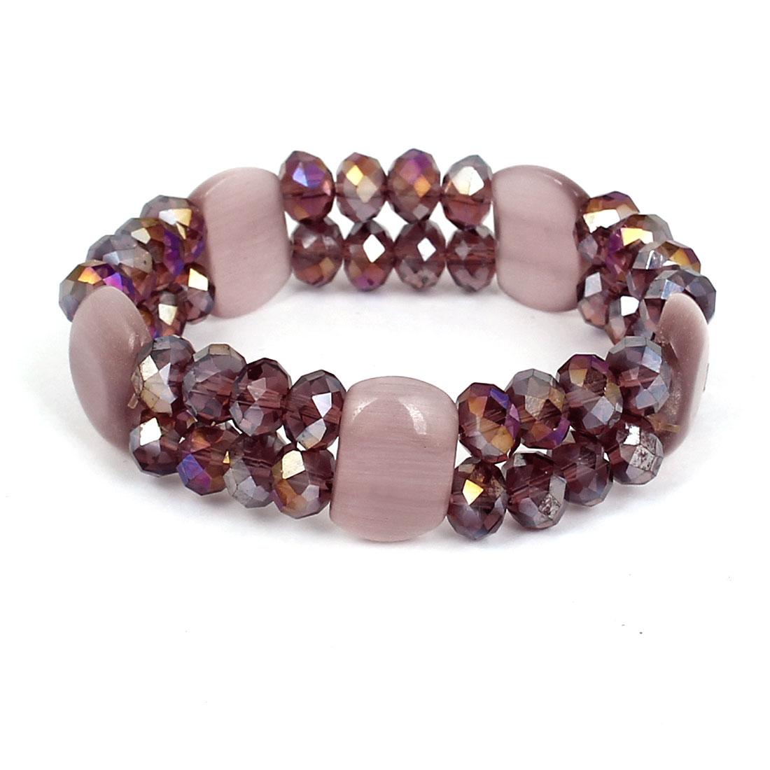 Woman Faux Crystal Decor Round Square Bead Linked Elastic Bangle Bracelet Pink