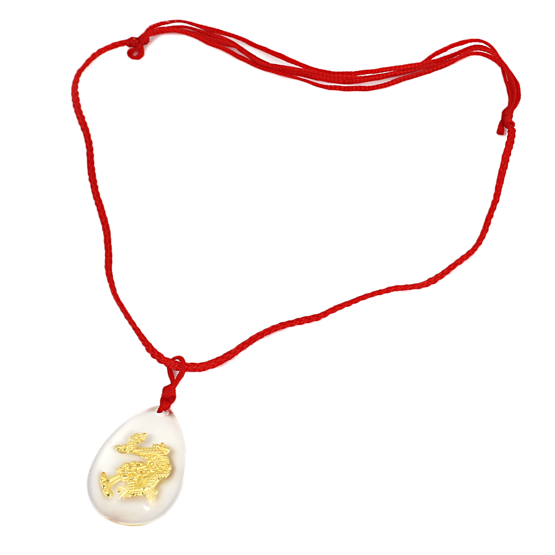 Red Manual Adjustable Nylon Braided Rope Plastic Gold Tone Dragon Pendant Necklace
