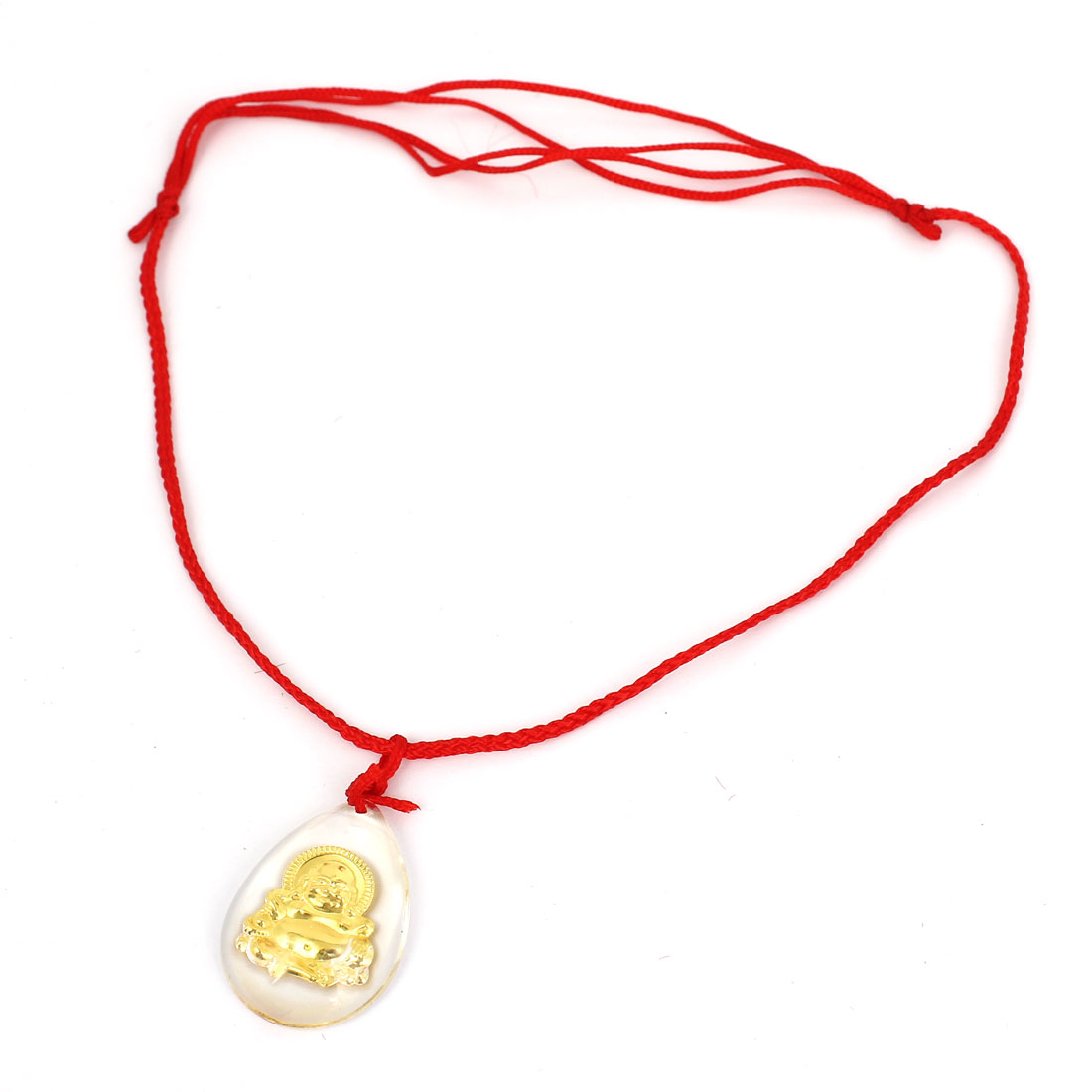 Red Manual Adjustable Nylon Braided Rope Plastic Gold Tone Buddha Pendant Necklace