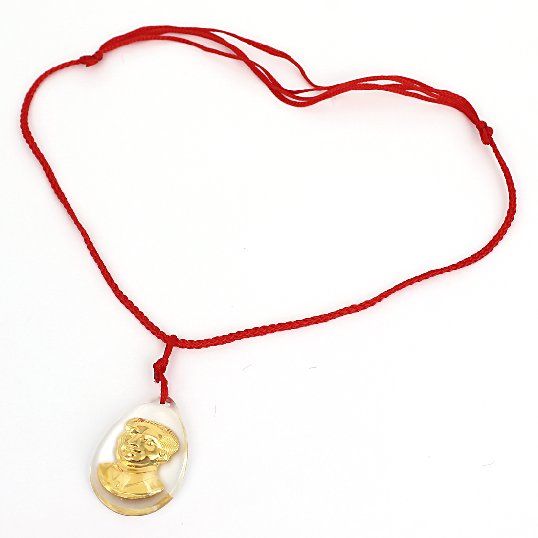 Red Manual Adjustable Nylon Braided Rope Plastic Gold Tone Mao Zedong Portraits Pendant Necklace