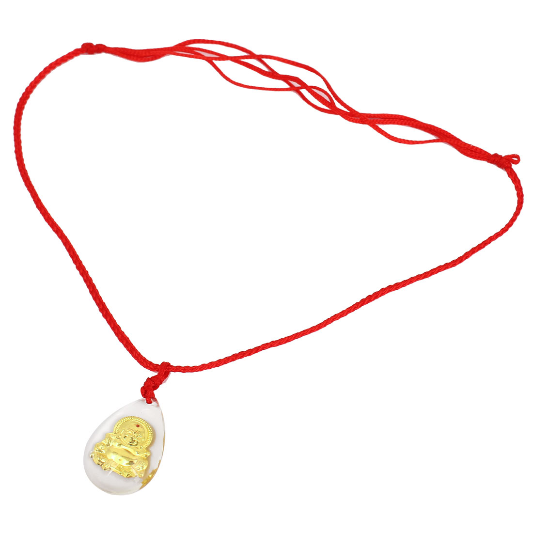 Red Handmade Adjustable Nylon Braided Rope Plastic Gold Tone Buddha Pendant Necklace