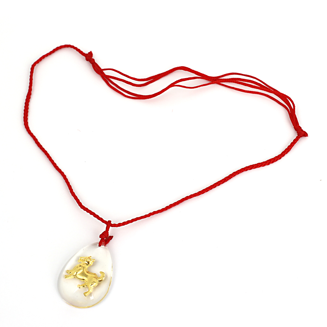 Red Manual Adjustable Nylon Braided Rope Plastic Gold Tone Dog Pendant Necklace