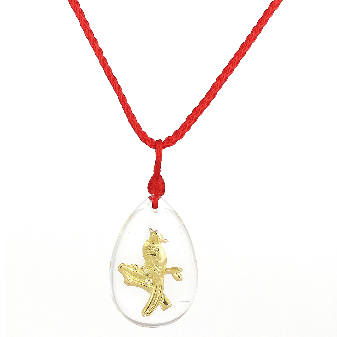Red Manual Adjustable Nylon Braided Rope Plastic Gold Tone Magpie Pendant Necklace