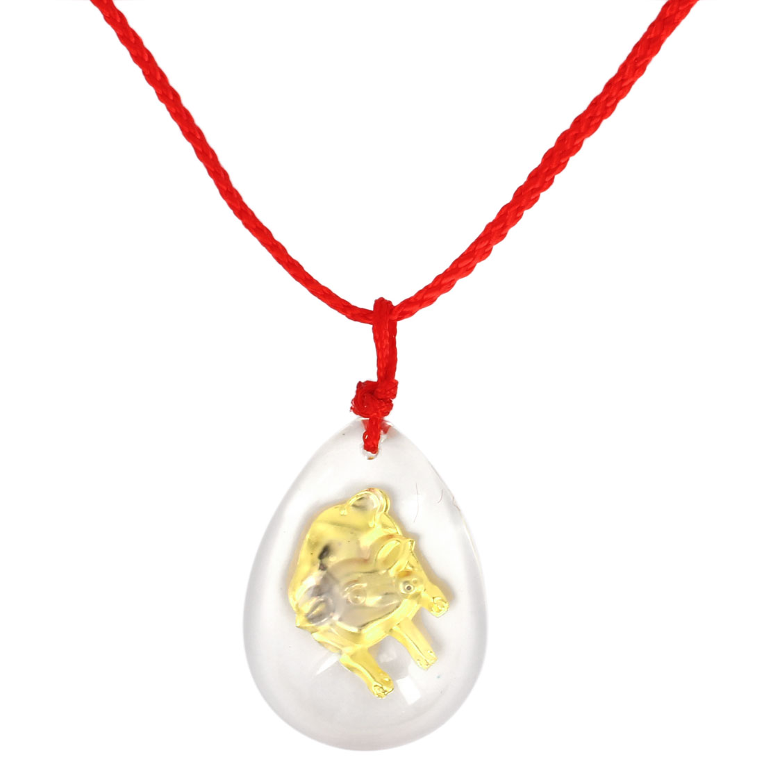 Red Manual Adjustable Nylon Braided Rope Plastic Gold Tone Pig Pendant Necklace