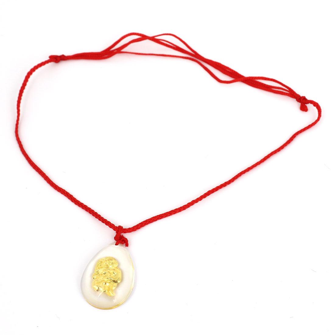 Red Manual Adjustable Nylon Braided Rope Plastic Gold Tone Monkey Pendant Necklace