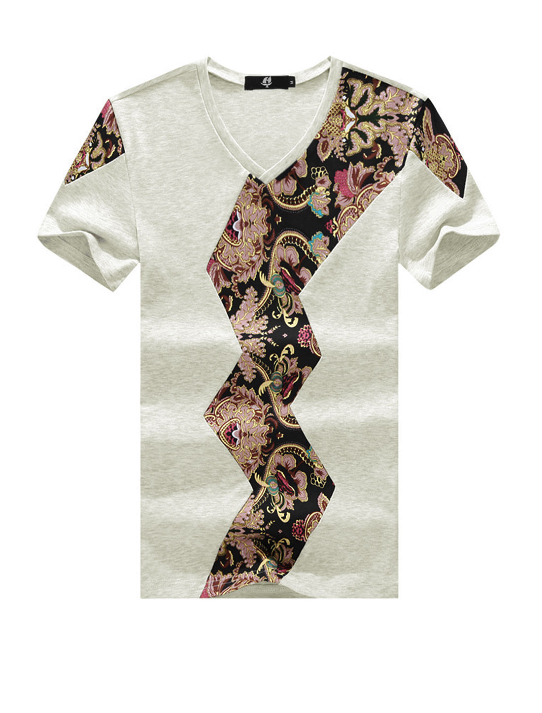 Men Floral Print Short Sleeve Stretchy Casual T Shirts Beige M