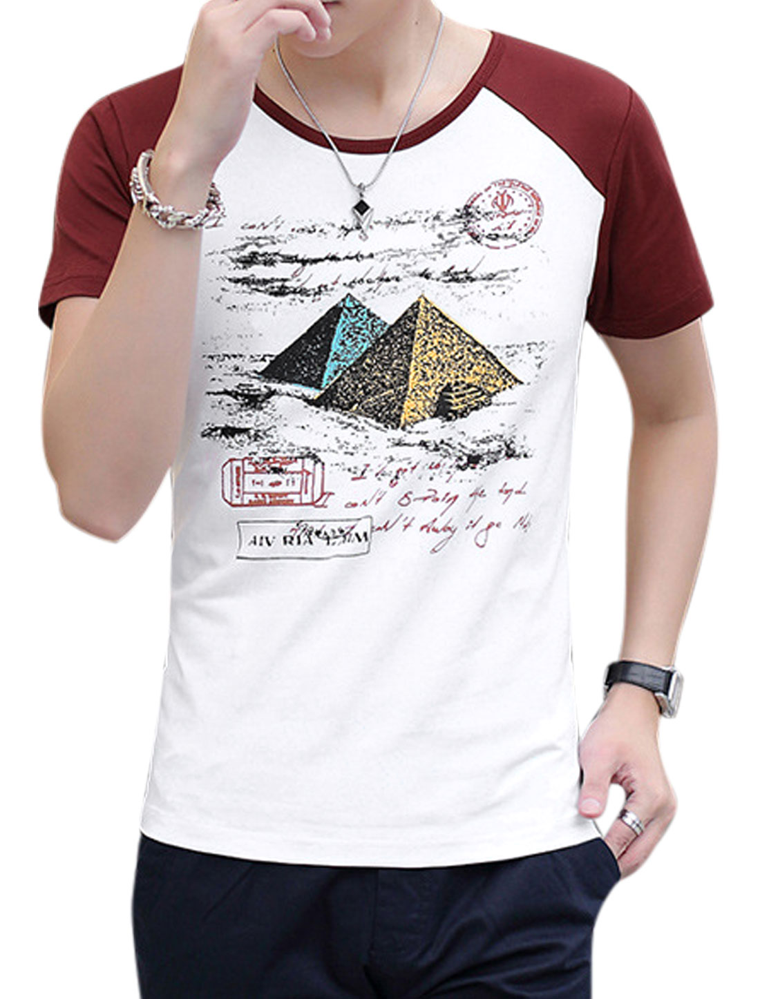 Man Pyramid Letters Prints Round Neck Leisure T-shirt Burgundy White M
