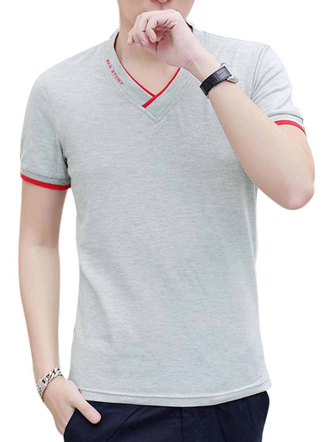 Men Short Sleeve V Neck Slim Fit Casual T Shirts Light Gray M