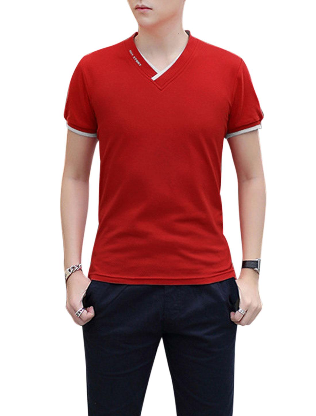 Men Short Sleeve V Neck Contrast Detail Casual T-Shirt Red M