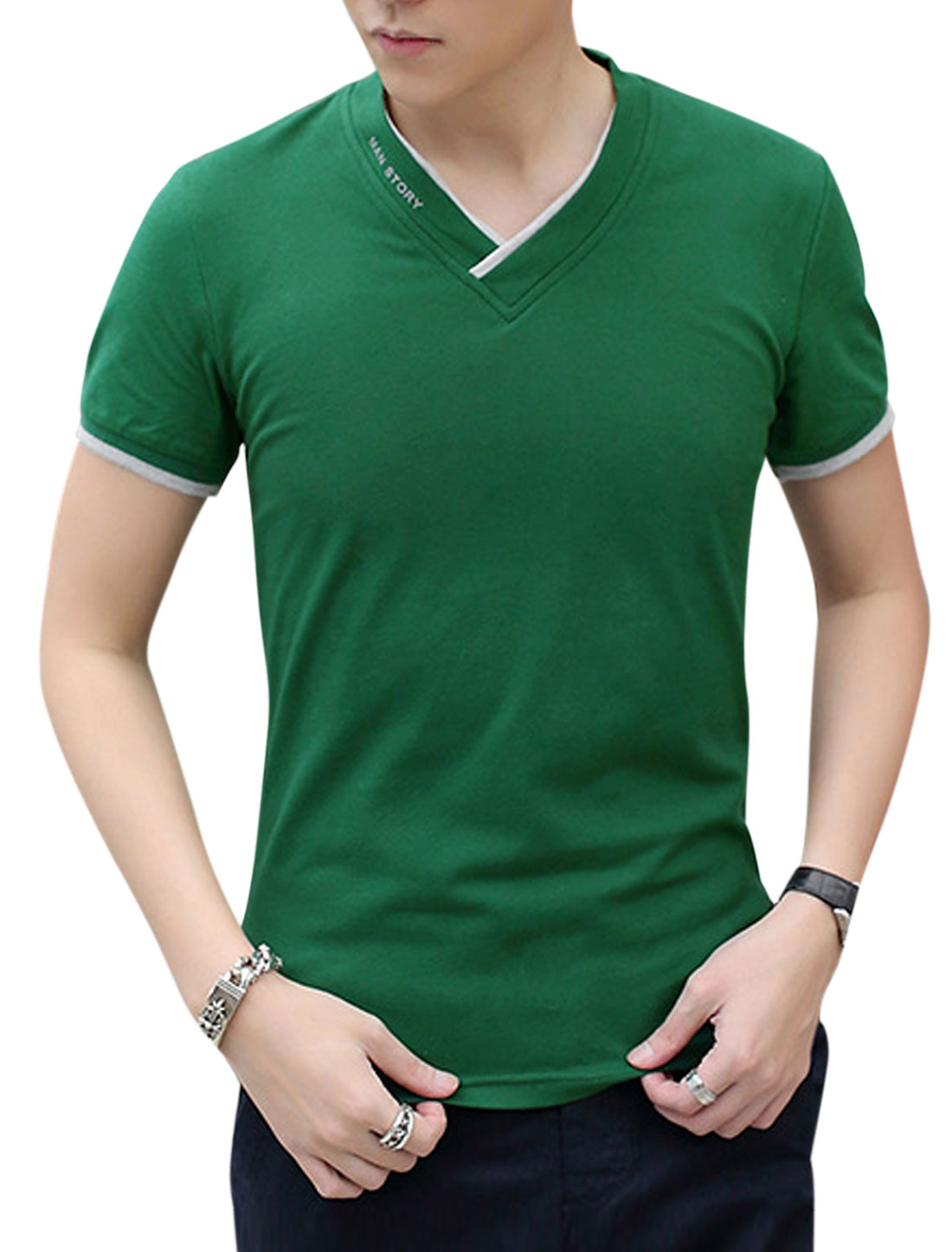 Men Short Sleeve V Neck Slim Fit Casual T-Shirts Green M