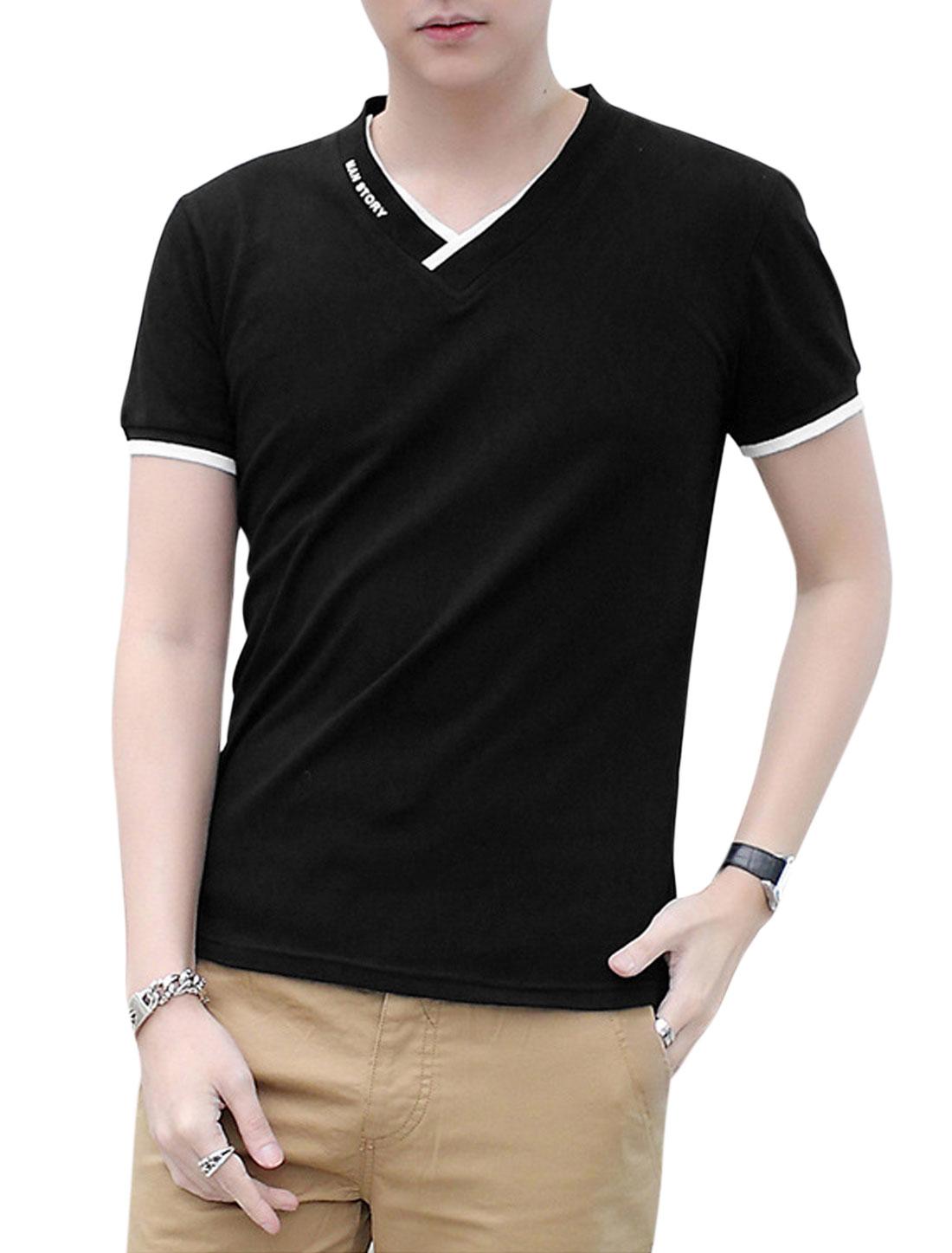 Men Slipover Short Sleeve V Neck Slim Fit Casual T Shirts Black M