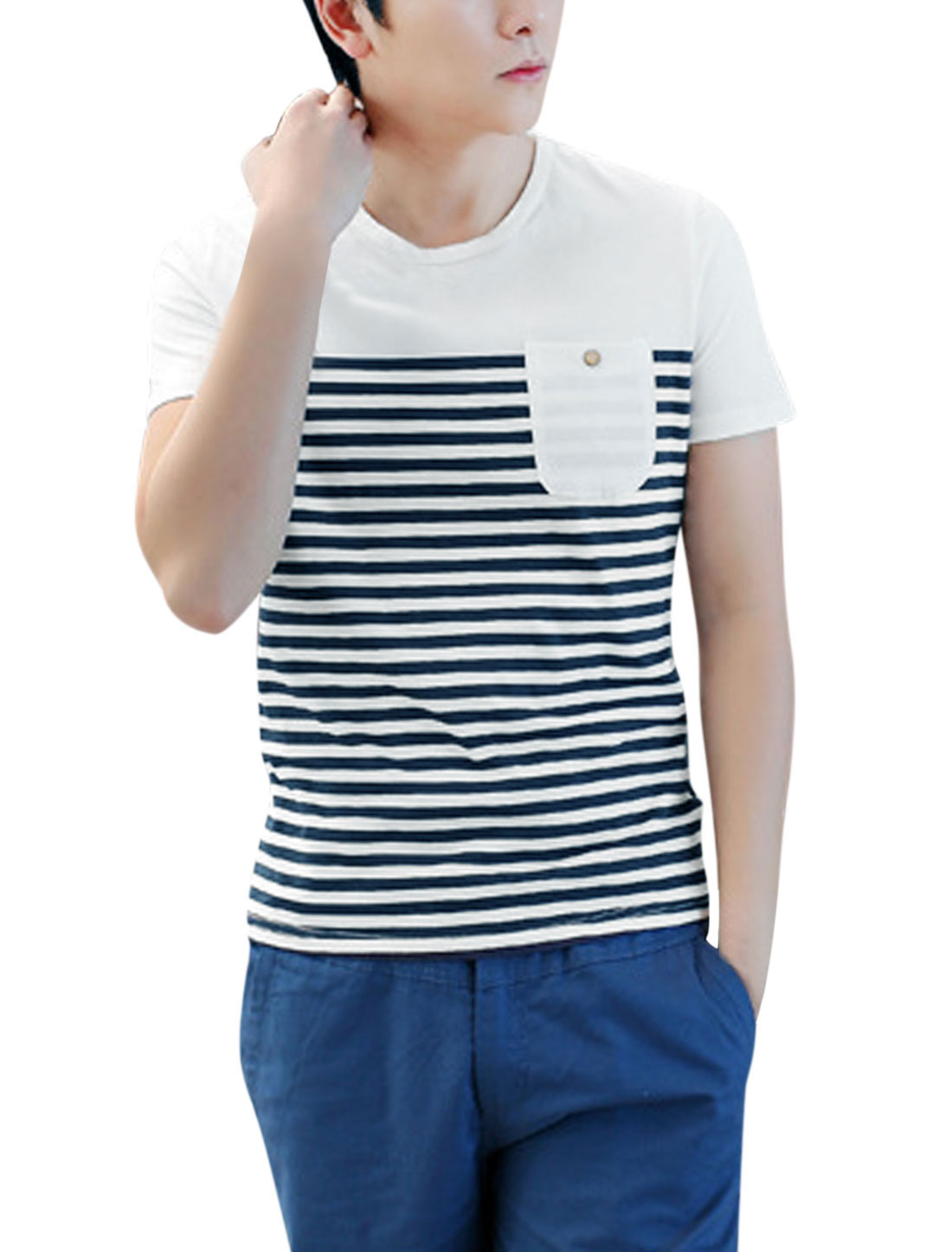Man Stripes Round Neck Short Sleeves Casual Tee Shirt White M