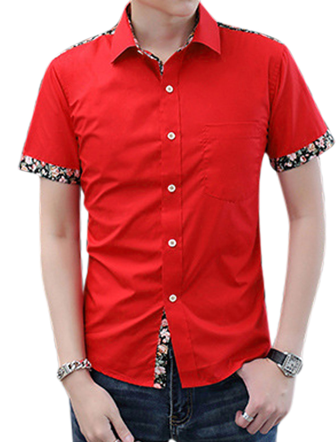 Man Floral Prints Detail Button Down Point Collar Casual Shirt Red M