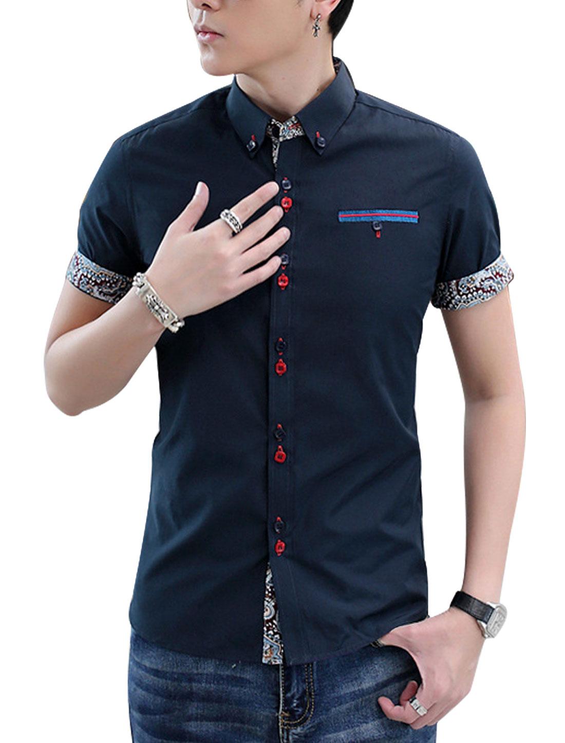 Man Point Collar Button Up Mock Welt Pocket Well-fitting Shirt Navy Blue M